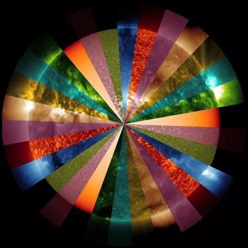 太阳动力学观测台拍照的多波段假彩色太阳拼接图。