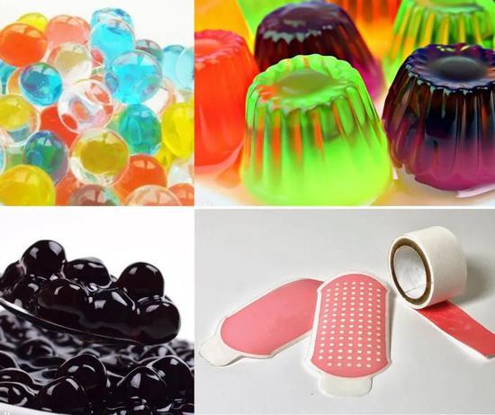 图1 生活中的水凝胶:水宝宝、果冻、珍珠粉圆、水凝胶伤口敷料(图片来自网络)