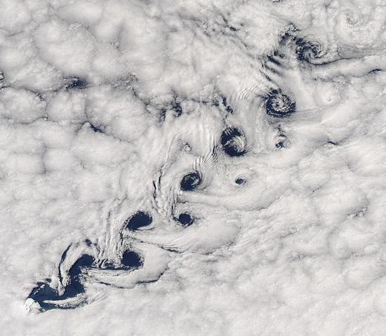 云团经过岛屿时形成的卡门涡街| 图源:Wikipedia