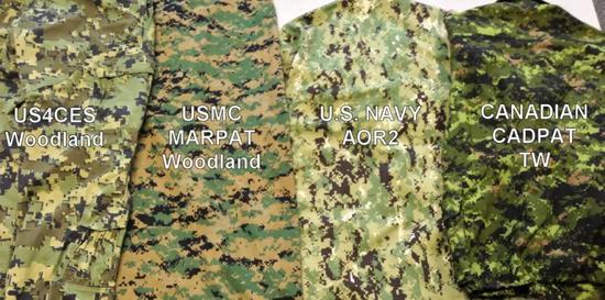 美国的数码迷彩(左2)和加拿大的数码迷彩 CADPATTW(右1)