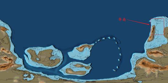 5.4亿年前左右的华南,浅蓝色为浅海环境,注意红框中黑色线条即为华南的版图,其中有个小圈圈,那就是海南岛,以海南岛为基准看华南就很方便了图/www.gplates.org