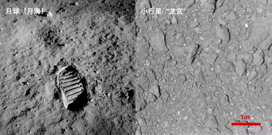 (左)阿波羅11號巴茲·奧爾德林的月面腳印。來源:NASA;(右)隼鳥2號在距離龍宮表面42米處拍攝。來源:JAXA、東大等 [10] 注意兩張圖比例尺不同。