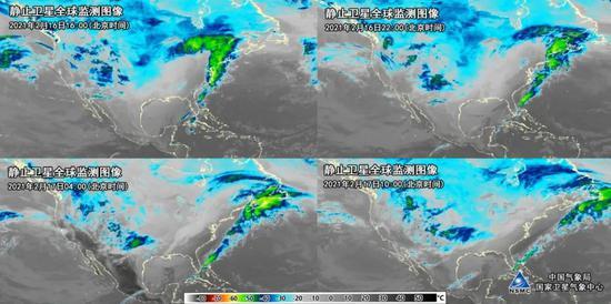 图为2021年2月16日16时、22时,2月17日4时,10时(北京时)的静止卫星云图监测,美国东北部较大区域的云顶亮温低至-40℃左右。