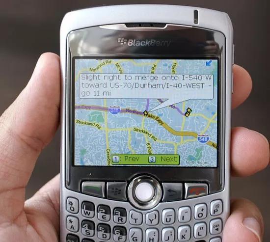 �D注:Blackberry Curve的地�D看起�磉h不如iPhone的地�D