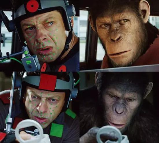 《猩球兴首》中,安迪·瑟金斯戴上专用头盔,记录面部外情