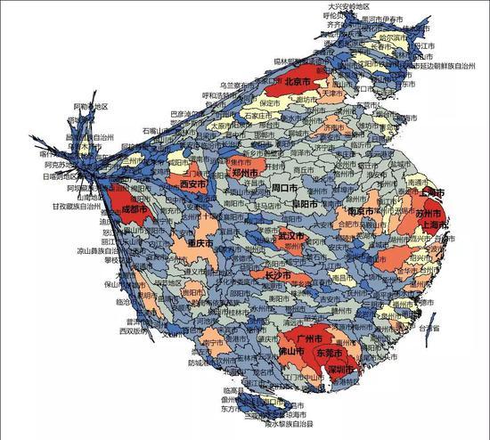 ▲附图1春节后人口迁出预测结果的变形统计地图
