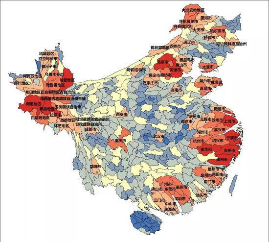 ▲附图3人口迁出加权迁徙半径变形统计地图