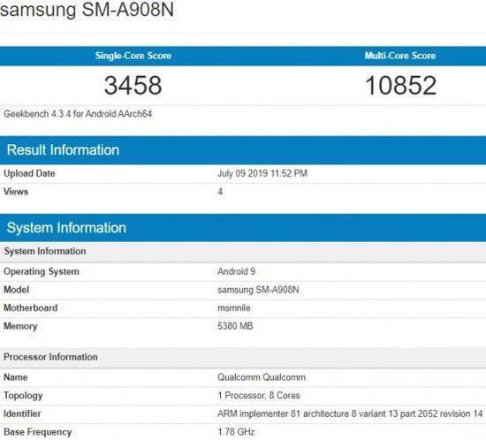 三星A90现身Geekbench 5G版将配备大电池