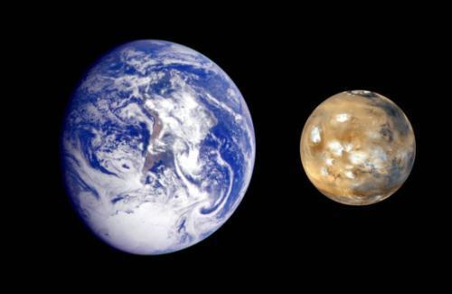 地球与火星的体积对比。图片来源:NASA官网。