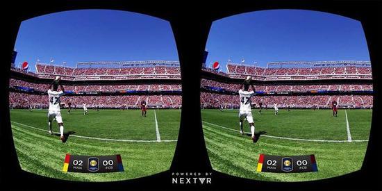 NextVR提供的足球VR直播(图片来自:sfchronicle)
