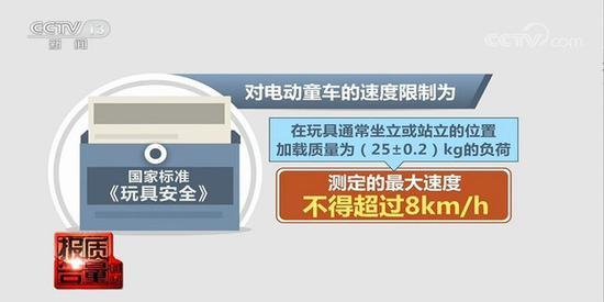 图:国家标准《玩具安全》规定电动童车的速度不得超过8km/h