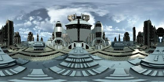 360 VR的未来科幻城市形象与银河系中的现代小说摩天大楼和建筑。图片来源:IC photo