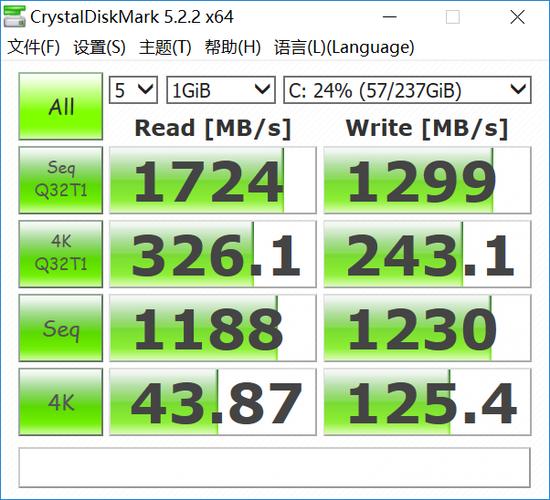 ↑实测顺序读取速度1.7G/s、顺序写入速度1.3G/s