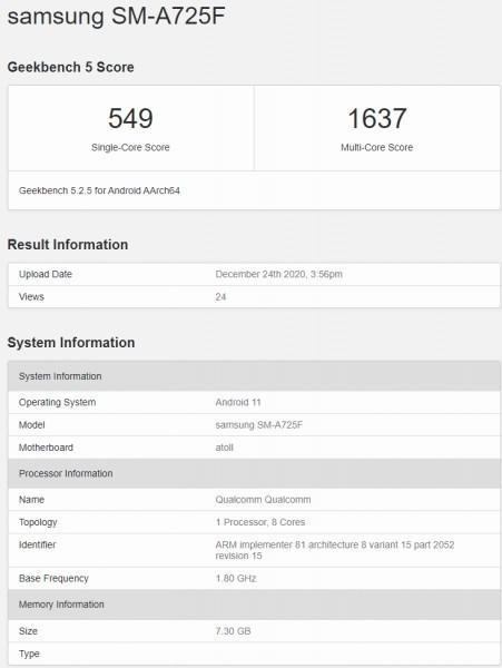 三星GalaxyA72 4G跑分曝光!成绩证实是一款中端机