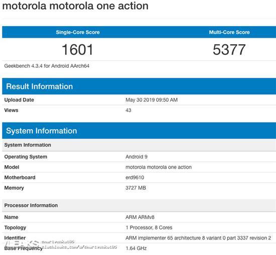 摩托罗拉新机One Action跑分曝光,搭载Android 9 Pie系统