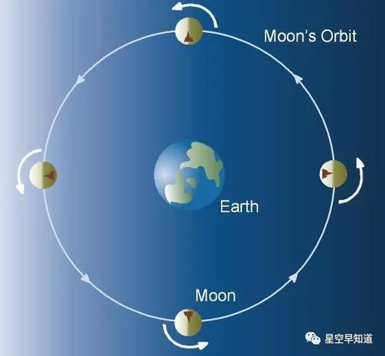 """图二:中心是地球,月球围绕地球公转。请着重,图中太阳在左侧,阳光会照亮半个月球。根据月球上的标记物,你会属意到,随着月球公转一周,它的地外各处都经历了白天和夜间。所谓""""月之黑面""""是不存在的谰言 来源:space.com"""