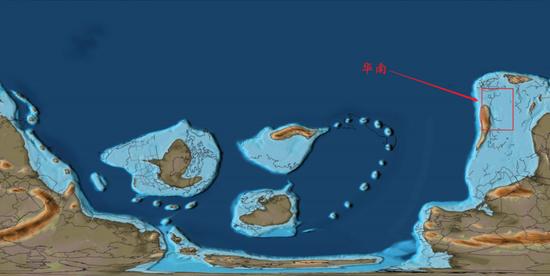 4.9亿年前左右的华南图/www.gplates.org