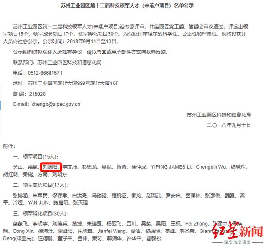 ▲苏州工业园区第十二届科技领军人才(非落户项目)名单公示中出现刘端阳