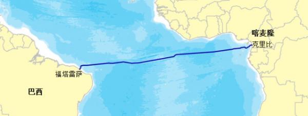 该海缆系统跨越南大西洋,连接喀麦隆海岸城市克里比和巴西东北部城市福塔莱萨,全长约6000公里