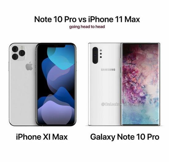 iPhone XI Max表不悦目对比三星Note10 Pro(图源推特)