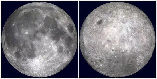 月球正面(左)和月球背面(右)看首来截然迥异(图源:NASA)