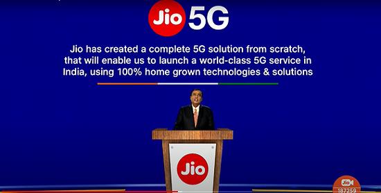 """▲穆凯什·安巴尼称Jio Platforms已经研发出""""完整的5G解决方案""""。(Jio官方直播截图)"""