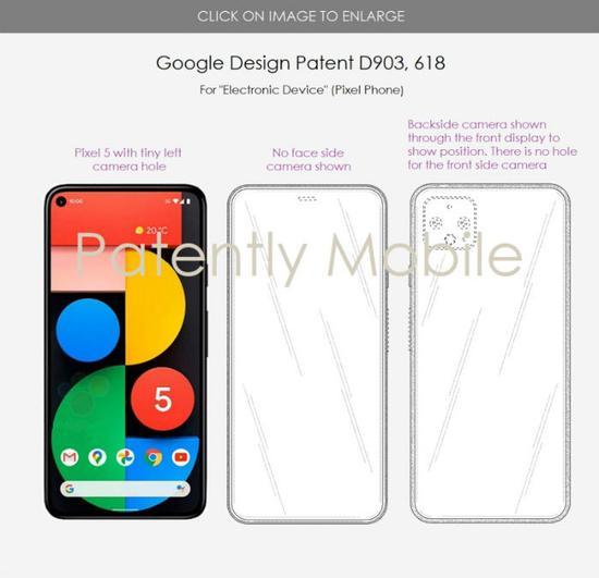 谷歌屏下摄像头手机外观专利曝光