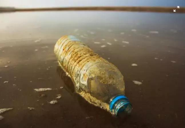 浑水中的塑料瓶。图片来源:Louis Hansel,Unsplash