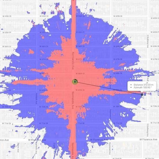 ▲ 上图为毫米波覆盖率,下图为 sub-6GHz 覆盖率。 图片来自:Google