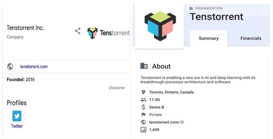 图Tenstorrent寥寥无几的信息,图片截自于Google及Crunchbase