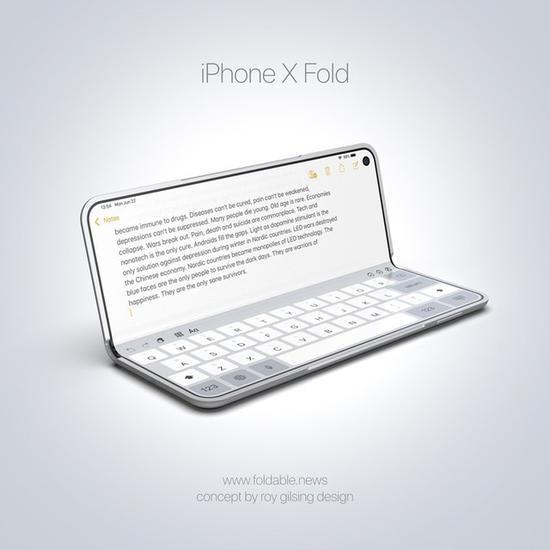 可折叠的iPhone x Fold苹果手机(图源:Foldable.news)