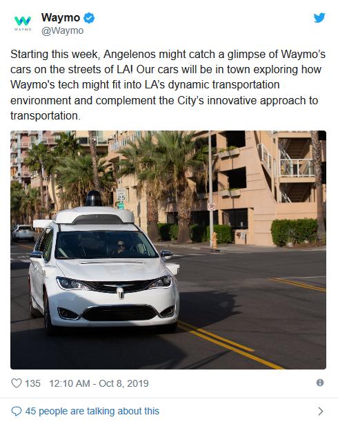 Waymo自动驾驶车队将抵达洛杉矶 采用改动过的克莱斯勒Pacifica