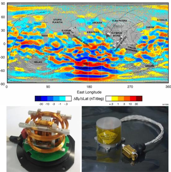 (上)火星全球探勘者号(MGS)在400公里高处获取的火星壳层磁场分布,火星剩磁有着明显的南北不对称性,主要分布在南半球 | 参考文献 [9];   (下)祝融号火星磁强计传感器的结构和封装后的外观| 参考文献 [10]