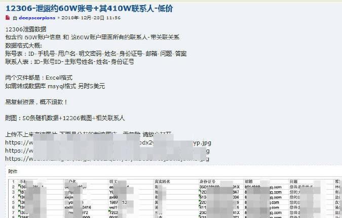 网络上有人公开售卖12306旅客新闻。网络图片