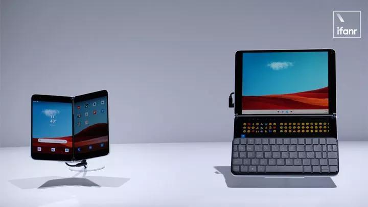 ▲ 左边是 Surface Duo 手机,右边是 Surface Neo 笔电,两者都采用了双屏设计