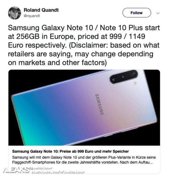 三星Note 10欧洲版将从256GB起跳 10+顶配版售价或破万