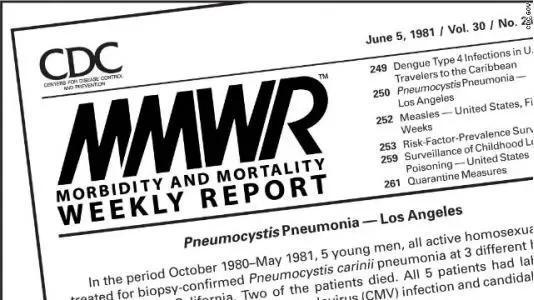 图 | 1985年首次报道的艾滋病例通知