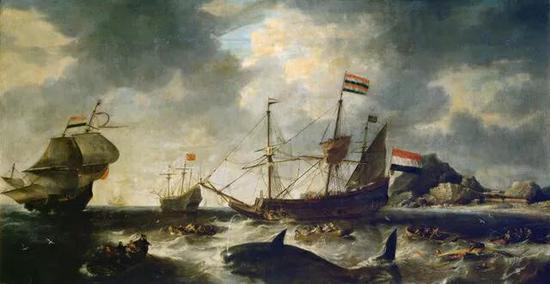 历史上最迂腐的描述捕鲸场景的油画,画中描述的是荷兰捕鲸者。画家:Bonaventura Peeters