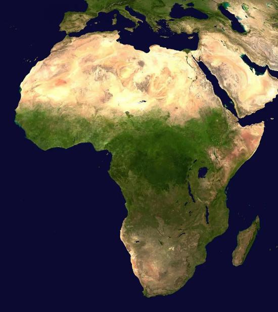 非洲地区的卫星图像。图片来源:Public Domain