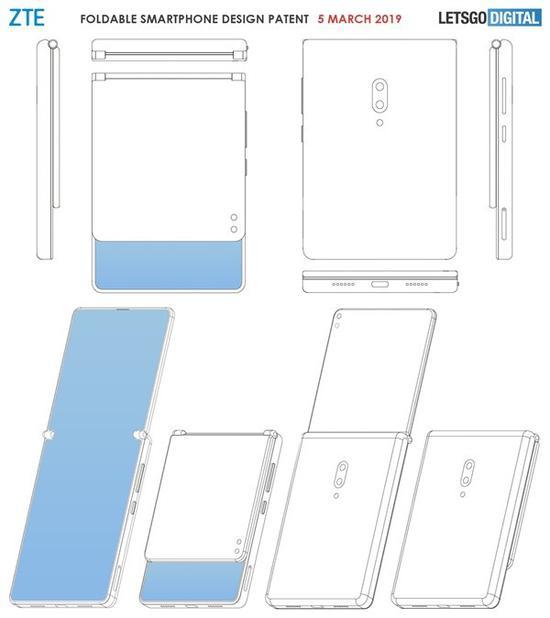 网传中兴翻盖式折叠屏手机专利