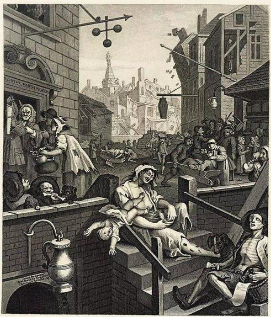 杜松子流行时伦敦街头到处可见的酒鬼
