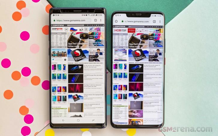 三星Note8(屏幕供应商为三星)和华为Mate 20 Pro(屏幕供应商为LG/京东方)