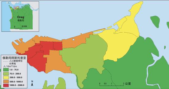 俄勒冈阿斯托里亚市清淡人口分布图与分区密度地图 Geographic Information System Software to Remodel Population Data Using Dasymetric Mapping Methods