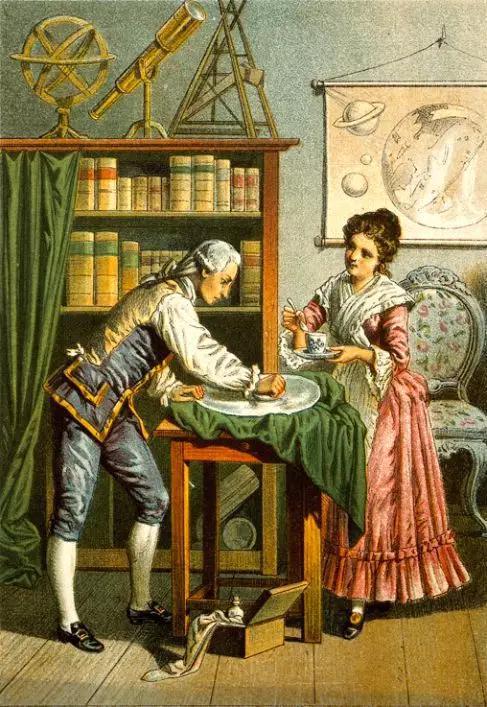 工作中的威廉·赫歇尔与负责照顾他起居的卡罗琳·赫歇尔 | 维基百科