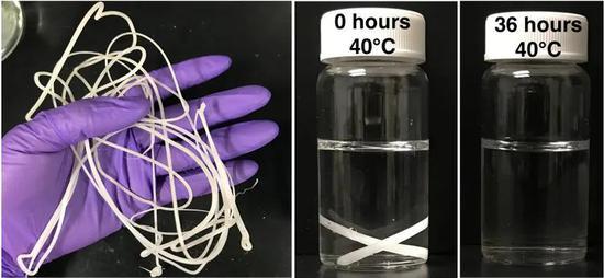 一类新型塑料可在40摄氏度的环境下,于36小时后降解为小分子(图片来源:参考资料[2];Photos by Christopher DelRe;Courtesy University of California, Berkeley)