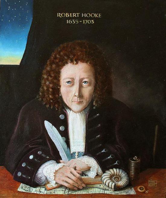 一艺术家对罗伯特·胡克的印象画。图片来源:wikipedia