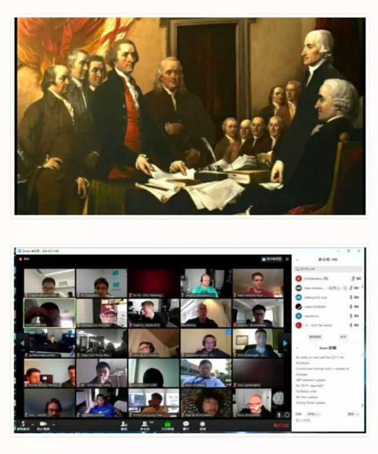 杜伦巴尔的名画和EOS的视频聊天室截图被放在一起