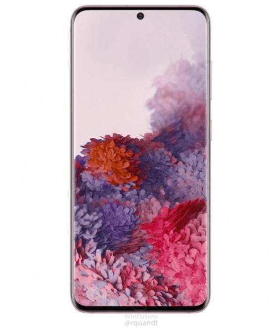 三星Galaxy S20粉色版渲染图曝光 内置4000mAh电池起售价为899欧元