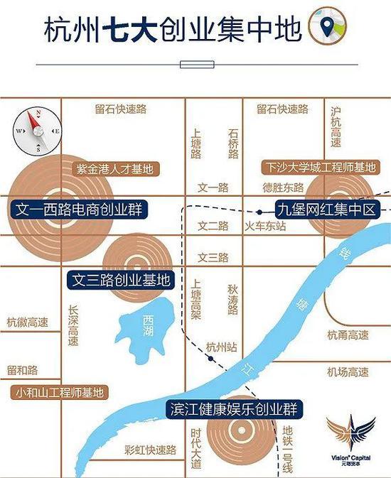 (图片说明:杭州的七大创业集中带;图片来源:元璟资本)