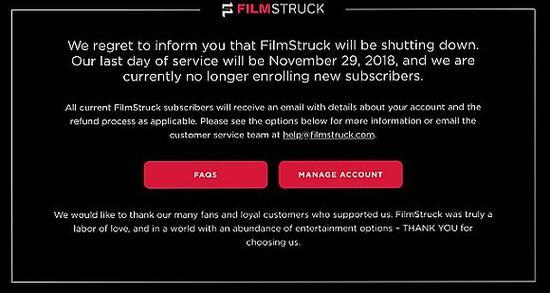 被收购的华纳传媒直接关闭了Filmstruck
